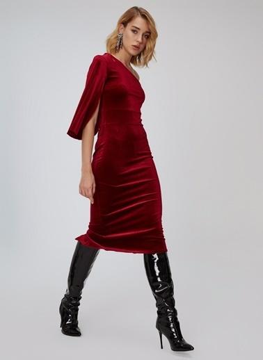 People By Fabrika Tek Omuz Kadife Elbise Bordo